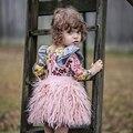 2016 Faldas Del Tutú Del Bebé Pettiskirts Niños Princesa Linda Ropa de Regalo de Cumpleaños Del Niño Del Partido Del Vestido de Bola Rosa de Felpa Falda Con Flecos
