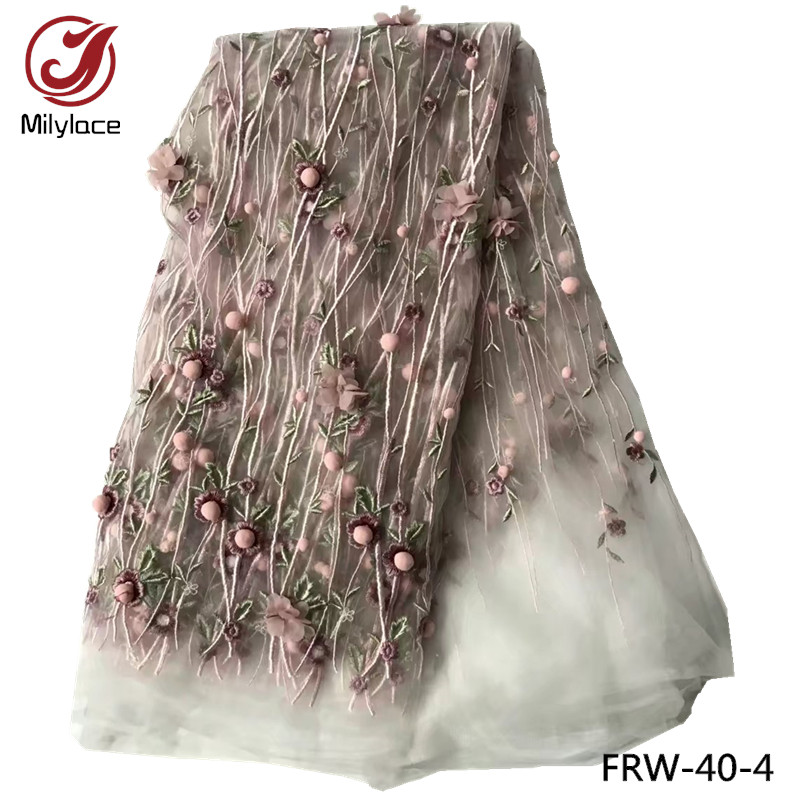 New coming african lace fabric hot selling 3d flower embroidery tulle lace design wholesale french lace
