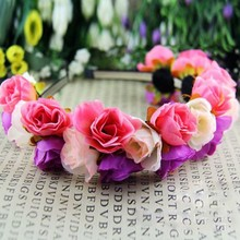 Розы корону повязки для женщин свадебный фестиваль двухрядные цветочные гирлянды Hairbands
