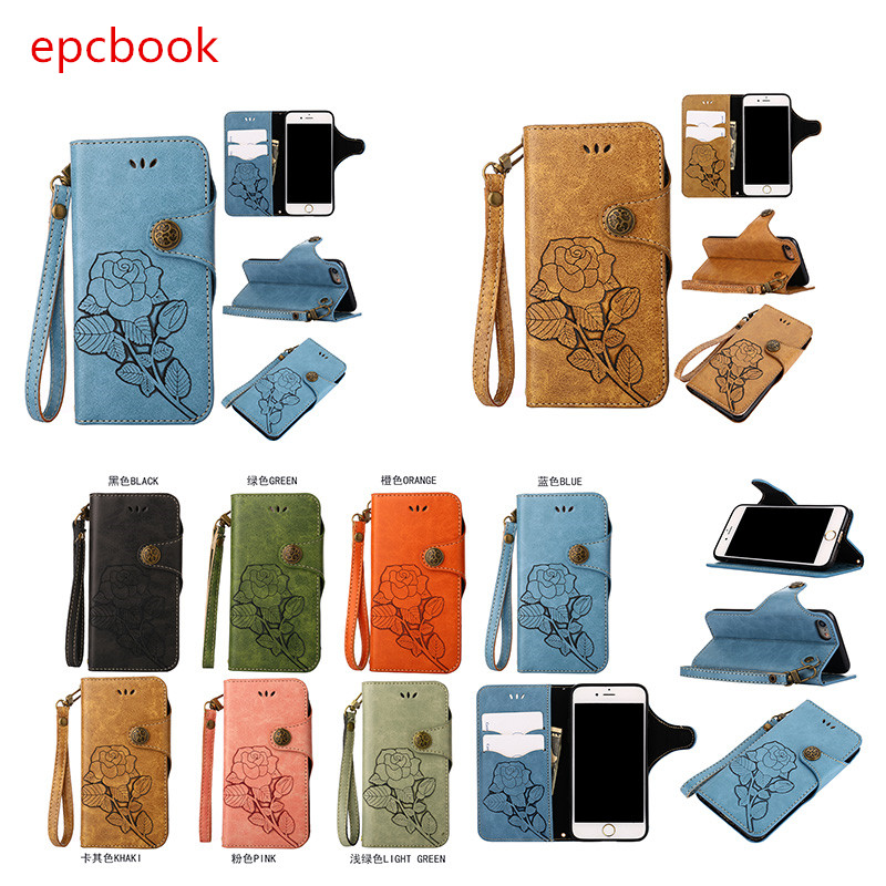 epcbook flowers PU Leather Wallet Flip Case For iPhone X Cover Retro Full Protector For iPhone 5 5s 6 6s 6plus 7 7plus 8 8plus
