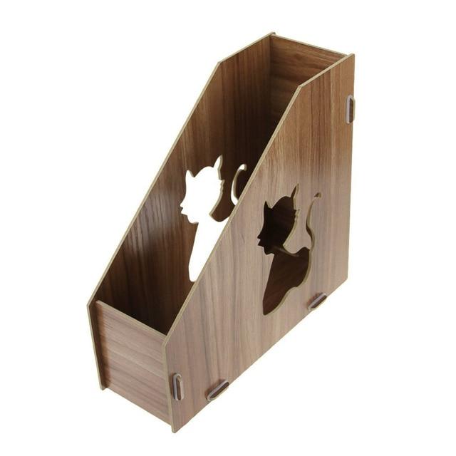 Cute Cat Hollow Out DIY Wooden Magazine Holder Desktop Books ...