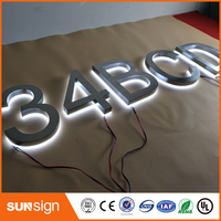 Customized Top Quality Mirror Stainless Steel Backlit Signage Reverse Channel Letters Sign