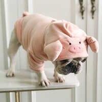 Pug lindo forma de cerdo terciopelo divertido disfraz de perro ropa para perros pequeños mascotas ropa Yorkshire Pug francés sudaderas de Bulldog S-L