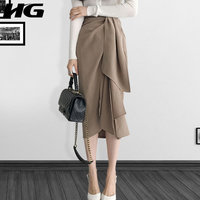 [HG] Temperament Concise Female Casual Skirt 2019 Spring Summer Korea Fashion New Solid Color Pleated Irregular Skirt WBB2215