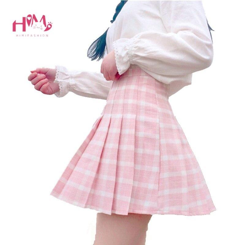 New Spring High Waist Plaid A line Skater Skirts Harajuku Tutu Skirt Japanese School Uniform Kawaii Harajuku Mini Pleated Skirt-in Skirts from Women's Clothing