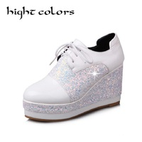 Bling Patent Leather Women Pumps Oxford Chunky Wedge Heels Lace Up Round Toe Platform Creepers Shoes