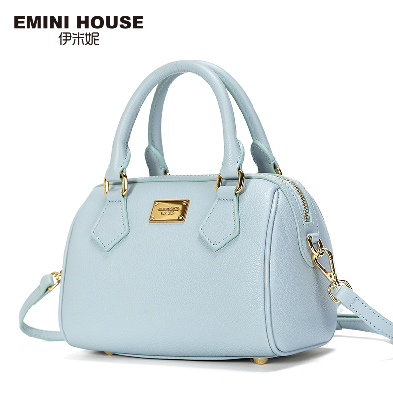 EMINI HOUSE Fashion Lady Boston Bag Genuine Leather Handbags Ladies Shoulder Bag Women Messenger Bags Crossbody Bags For Women soft cowhide genuine leather women shoulder bags fashion handbags simple european style boston messenger bag pillow female packs
