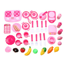40pcs/set Pink Role Play Pretend Toy Girls Baby Kitchen Food Cooking plastic kitchen toys Cup Fruit Tool play kitchen Xmas Gift