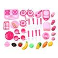 40 pçs/set rosa cozinha cozinhar alimentos papel pretend play toy meninas do bebê da criança, bebê criança plástico kitchen toys play cozinha presente de natal
