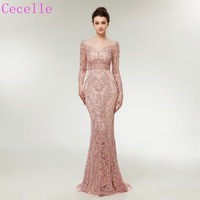 2019 Blushing Pink Mermaid Long Evening Dresses With Long Sleeves Beaded Sheer Back Women Sexy Evening Gowns
