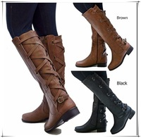 XingDeng Flat Heels Long Bandage Pu Leather European Motorcycle Boots Shoes Ladies Zip Buckle Western Boots Big Size 34 43
