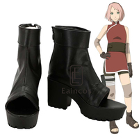 Anime Naruto The Last Haruno Sakura Cosplay Party Shoes Black Peep Toe Boots Customized Size