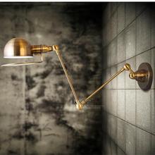 Oro Ajustable Brazo Mecánico pared luz abajur Industrial Americana Lámparas de Barra de la Cocina de La Vendimia retro lámpara de Pared E27 luz del espejo