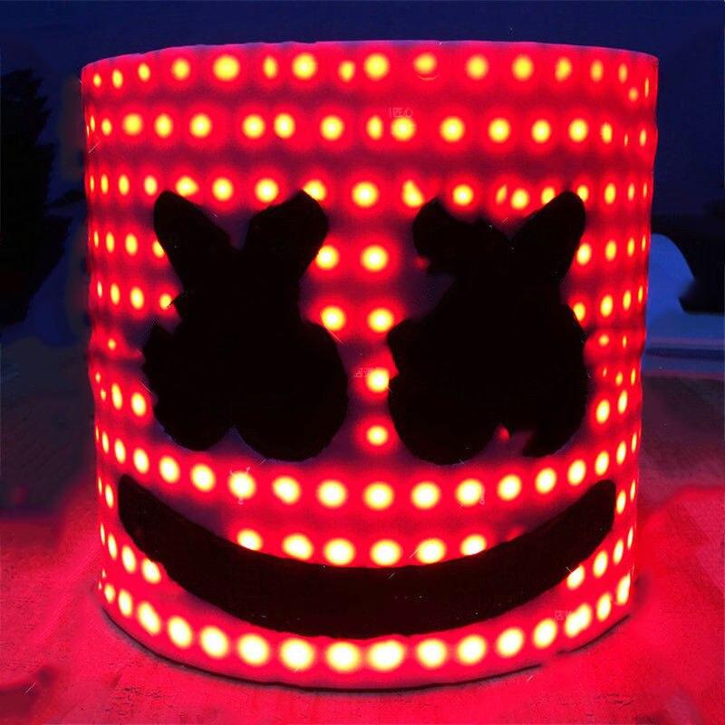 Bar MarshMello DJ Mask Tiesto LED Full Head Helmet Cosplay Party Props Supplies YH-17