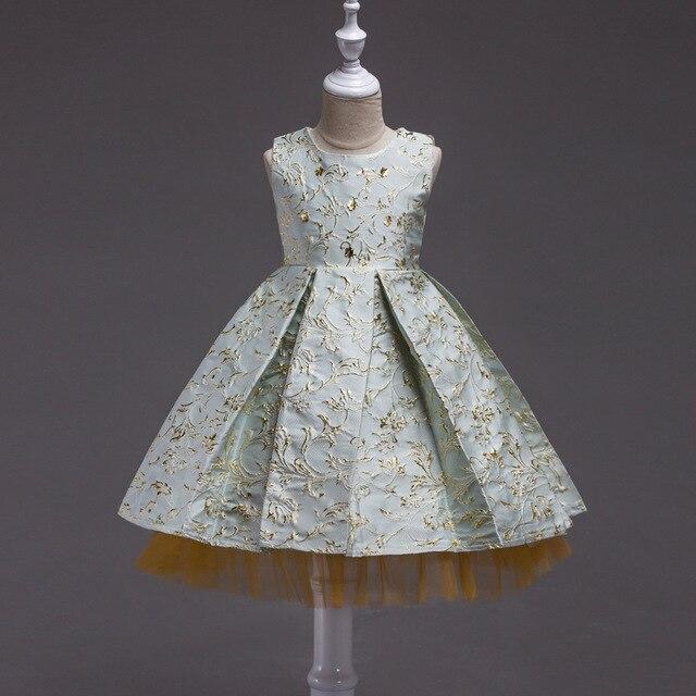 8dfcef1876f31 Broderie rose bleu robe de soirée pour les filles 3-12 ans Boutique haute  qualité