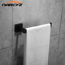 New Style Simple and elegant Square Towel Ring Black/Chrome Color 304 Stainless Steel Towel Hook Bathroom accessories 9163K(China)