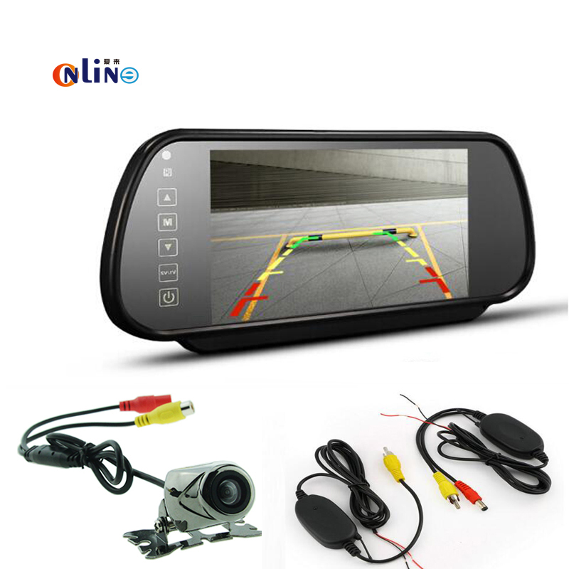 7 inch TFT HD Car Color Mirror LCD Car Screen Monitor+ Wireless with a trigger line+HD 170 degree Night vision Rear View Camera hot sale dvr car covers 7 car lcd tv dvd screen ccd 170 degree ear view night vision park monitor camera kits diagnostic tool