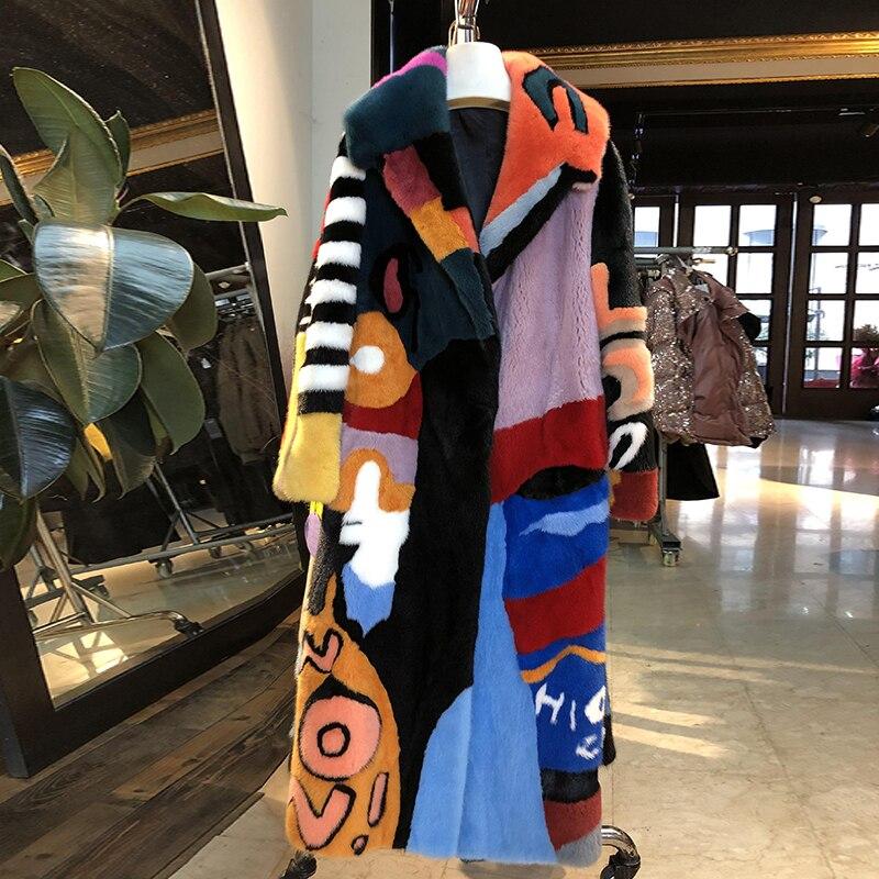 Vison Velours Femmes De Lvchi Multi Manteaux Patchwork Motif Réel Fourrure Collar down Importé Manteau Imprimer 2019 Turn D'hiver Longue rtwvqvYX