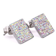 Square Earring Studs Stainless steel Pave AAA Cubic Zirconia Crystal Cute Earrings For Fashion Women
