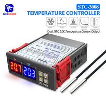 STC-3008 Dual LED Digit Tube Thermometer 12V 24V 220V Temperature Controller Dual NTC Thermostat Temperature Sensor Probe Output(China)