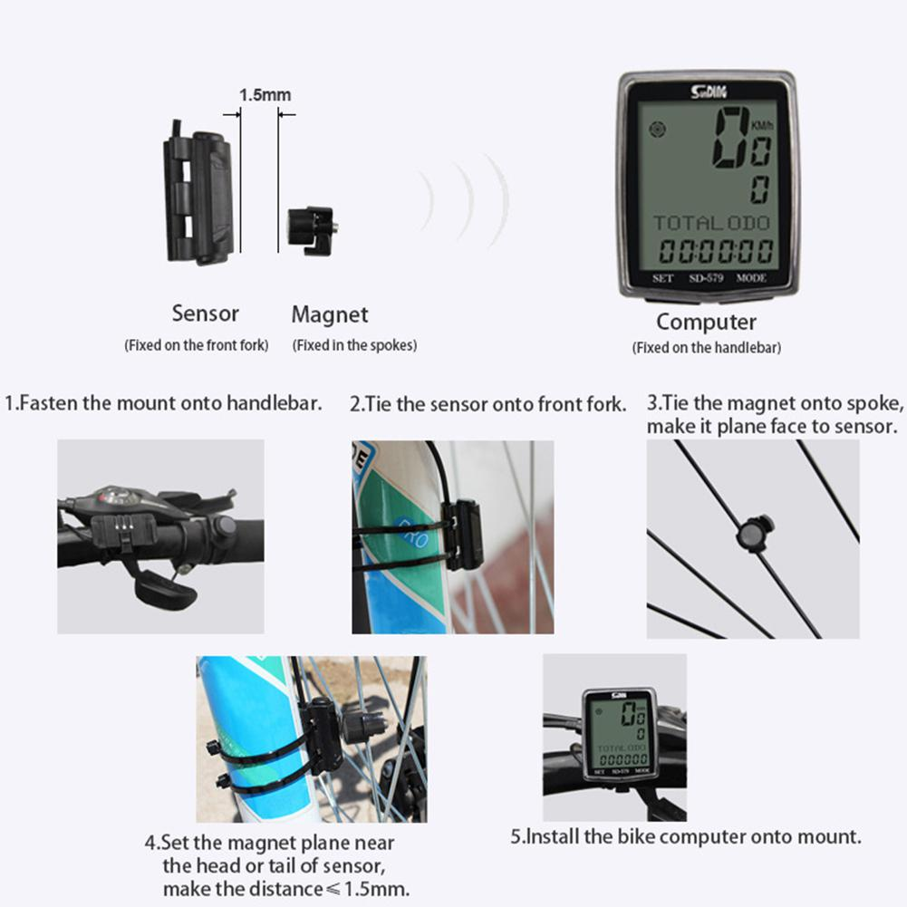 Black HobbyLane Practical English Wired SD 579A Bicycle Odometer Backlight Speedometer Cycling Timer Bike Computer Hot Sale in Bicycle Computer from Sports Entertainment