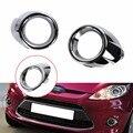 2 pcs Anel ABS Frente Chrome Fog Lâmpada Luz Capa Guarnição Para Ford Fiesta Sedan 2009-2012 Tendência Conforto //