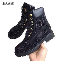 JAWAKYE Black Rhinestone Flat ankle Boots Women Gladiator thick heel Short Winter boots Crystal Studded lace up Martin Boots
