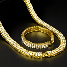 Men Hip Hop Rock Gold Silver Bling 3 Three Rows Rhinestone Pharaoh Jewelry Set Miami Cuban Chain 30″ CZ Necklace Bracelet Set