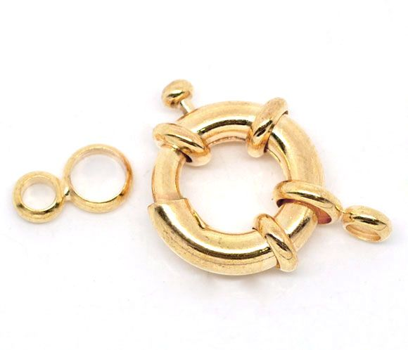 DoreenBeads Gold color Spring Clasps W/Attachment Rings 25mm,sold per pack of 10