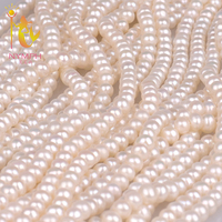 NYMPH Natural Freshwater Pearl Beads 5 Strands Package 6 6 5mm Rice AAA Grade Nice