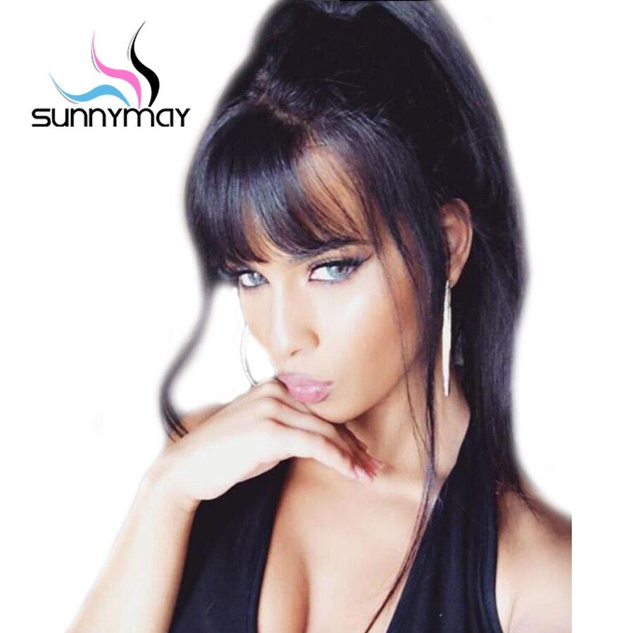 Sunnymay cheveux pré plumé pleine dentelle perruques de cheveux humains avec frange 130% droite pleine dentelle perruques cheveux humains avec des cheveux de bébé pour les femmes