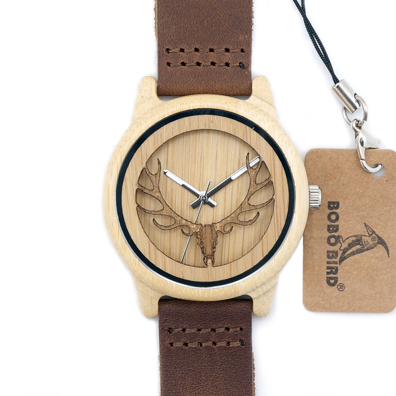 Deer Head Design Hollow Out Bamboo Træ Quartz Watch Med Læder Strap - Mænds ure - Foto 3