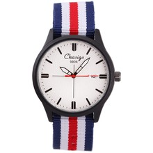 CHAXIGO Brand Fashion Sport Watch 3ATM Waterproof Date Blue White Red Color Nato Nylon Strap Fashion Unisex Watches for Teenager