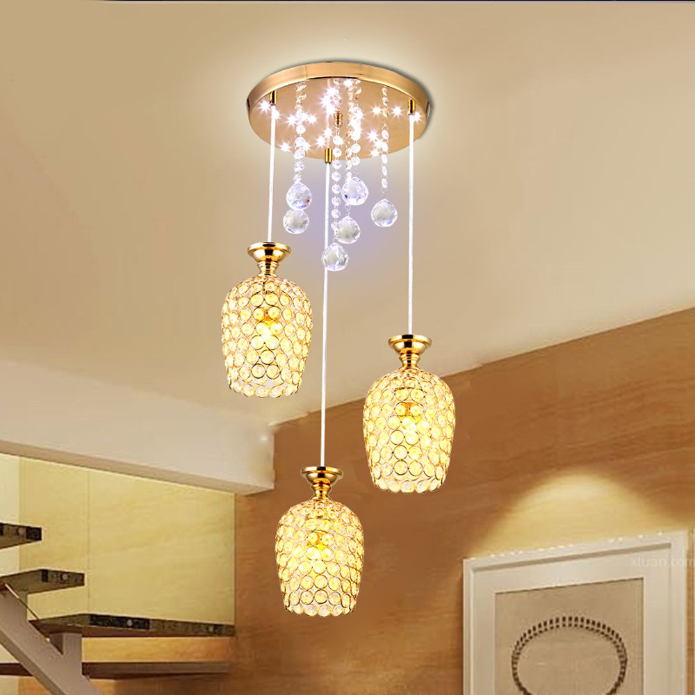 Brand New Crystal Dining Room Pendant Light Modern Golden Chrome Lampshade Hallway Corridor Gallery Pendant Lamp Fixture