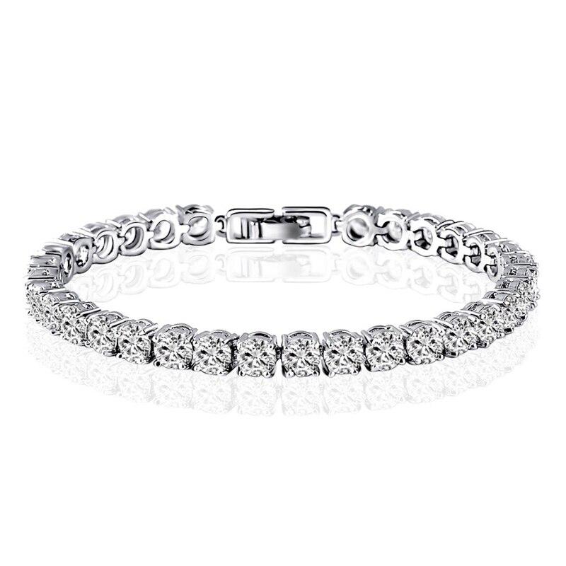 AINUOSHI 10 K or blanc Bracelets charme cubique zircone Bracelet simulé diamant bijoux chaîne lien Bracelet fiançailles mariage