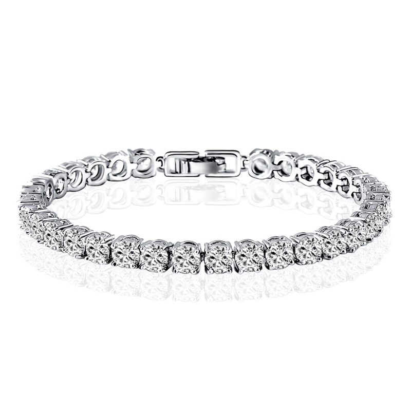 AINUOSHI 10K White Gold Bracelets Charm Cubic Zirconia Bracelet Simulated Diamond Jewelry Chain Link Bracelet Engagement Wedding titanium steel link cubic zirconia studded couple bracelet