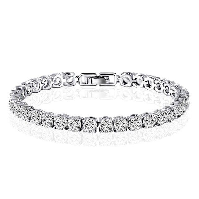 Ainuoshi 10k White Gold Bracelets Charm Cubic Zirconia Bracelet