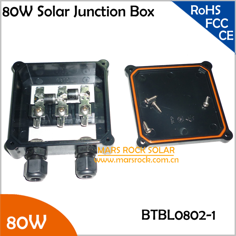 5pcs/Lot Wholesale 80W Solar Junction Box 6A Diode (10A10), MC4 Connector, 90CM Cable, Solar Panel Electrical Connecting Box 80W solar junction box for 30w 60w solar panel diy solar cell w 1 hight grade diode solar generators