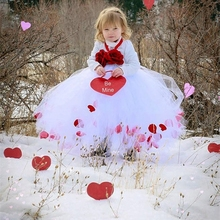 Children clothing Rose petal Girl Wedding dress Super Cute Solid white Tutu Princess dress with Flower