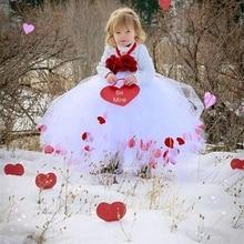 Детская одежда лепесток Розы Девушка Свадебное платье/Супер Мило Твердый белый Пачка платье Принцессы с Цветком Марлевые Сетки Девочек одежда