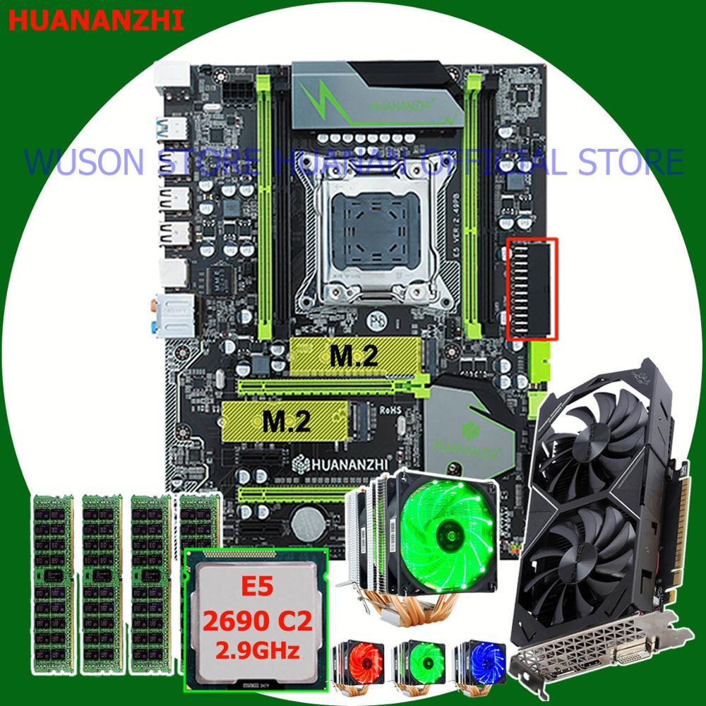 Buena HUANANZHI X79 Pro con doble M.2 ranura para la tarjeta de vídeo GTX1050Ti 4G CPU Xeon E5 2690, 2,9 GHz con enfriador RAM 16G (4*4G)