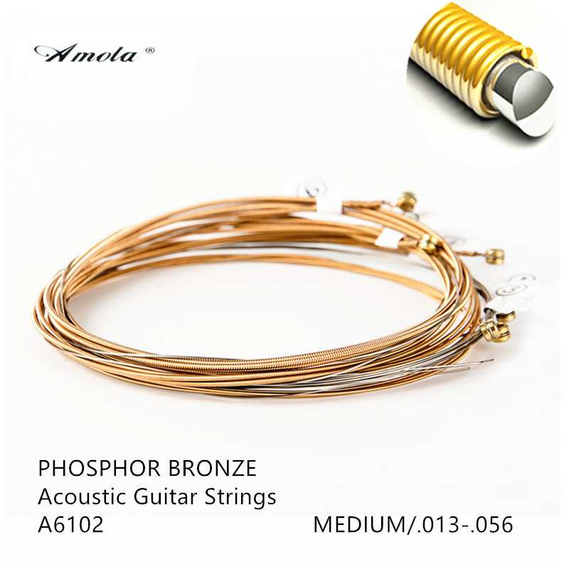 Acoustic Guitar Strings Amola Original A6102 Great Tone Long Life Coated Phosphor 80/20 Bronze Medium 013-056 Wound String