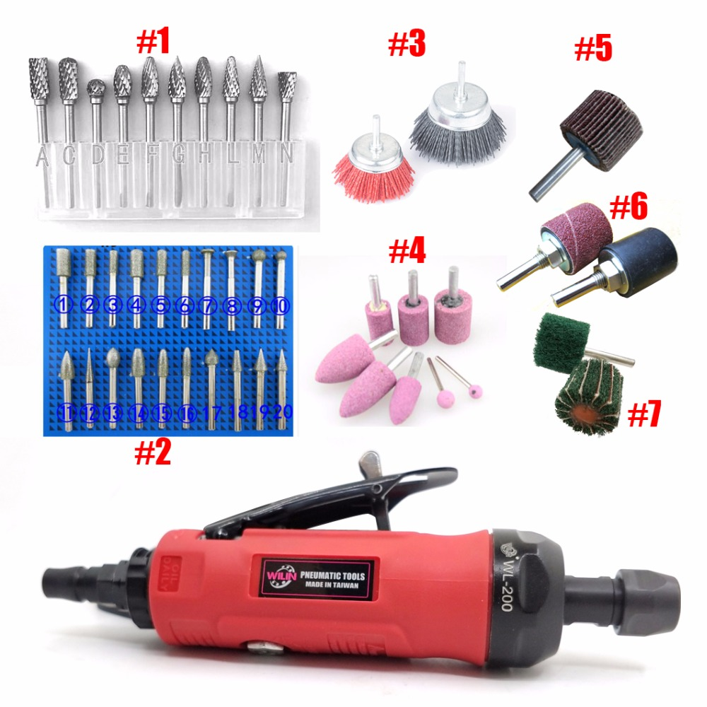 цена на Pneumatic Tools 1/4 6mm Air Die Grinder Grinding Mill Engraving Tool Polishing Machine Rear Exhaust Multifunction Set