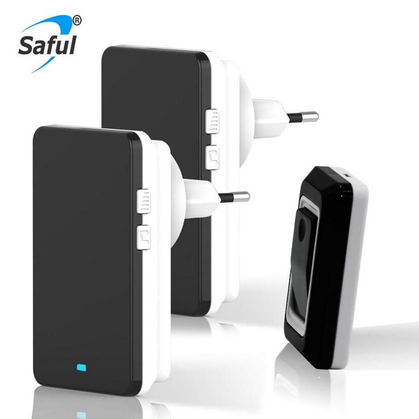 2018 Saful New Wireless Doorbell EU/US/AU/UK Plug Waterproof Doorbells with Push/Touch Button AC Smart Remote Control Doorbells