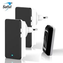 Saful Wireless Doorbell EU/US/AU/UK Plug Waterproof Doorbells with Push/Touch Button AC Smart Remote Control Door bells