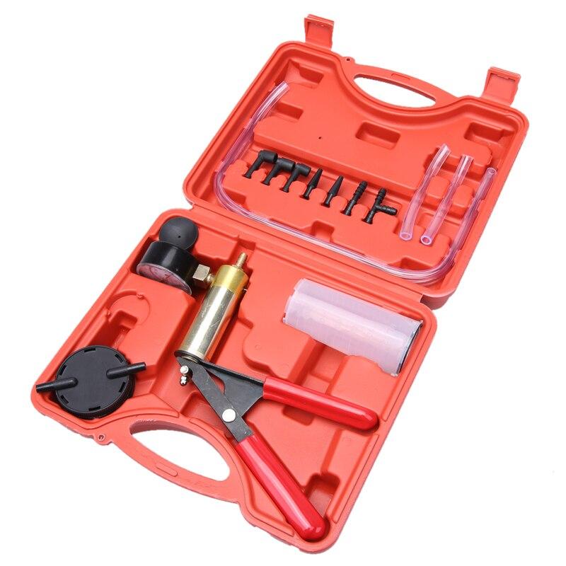 Cylinder Hand Held Vacuum Pump Handle Brass Brake Bleeder Kit Cars Motorcycles Vacuum Tester Pump Sturdy Steel Handle Pump Tool