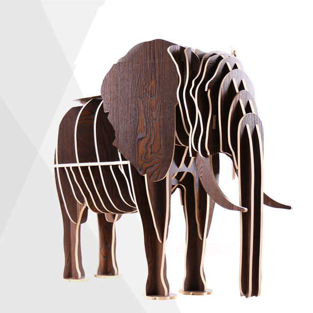 Free Shipping 100% Wood 3 Colors European Style Creative DIY Wooden Elephant  Table Luxury Home