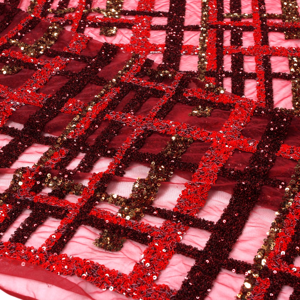 New fashion show wine red mixed color 3D sparkling sequins on mesh embroidery lace fabric wedding