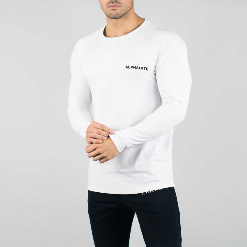 2018 Fashion Hoge elasticiteit Sporting Sportscholen T-shirt Heren lange Mouw Fitness t-shirt mannen effen sportscholen Bodybuilding T-shirt tee Bla