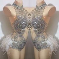 Feather Shining Crystals Female Costumes Bodysuit sexy Silvery Rhinestones Bar DJ Singer Dancing performance nightclub party